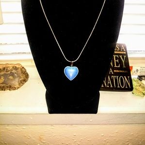 Handcrafted Heart Opal 925 Silver Necklace